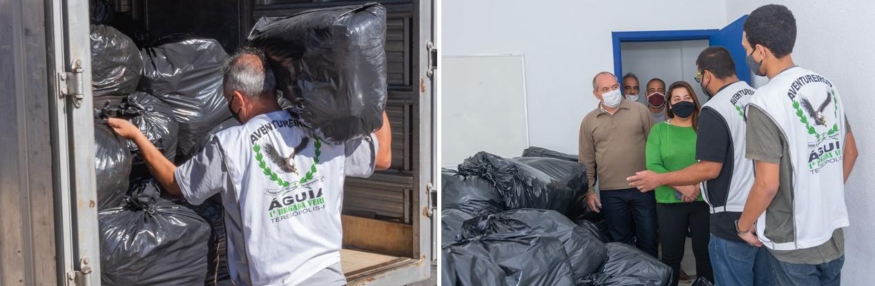PADRÃO ÁGUIAS ENTREGA DOAÇÕES DE ROUPAS E AGASALHOS PARA A SECRETARIA DE DESENVOLVIMENTO SOCIAL, EM TERESÓPOLIS